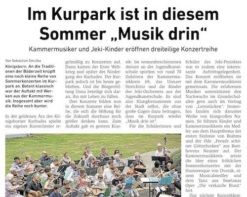 """Im Kurpark ist in diesem Sommer """"Musik drin"""""""
